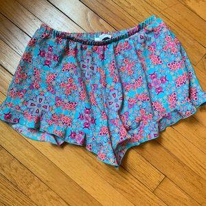 Peach Love California Turquoise Ruffle Shorts